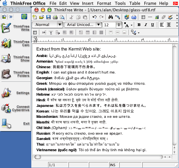 Unicode and multilingual editors and word processors for Mac
